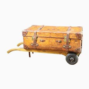 Maleta de cuero con carrito antiguo, años 30