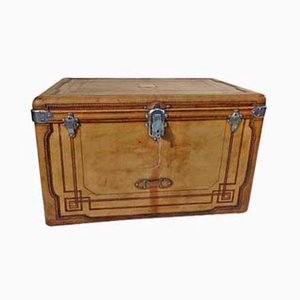 Antique Leather Trunk Courier Trunk from Gautier, 1890s
