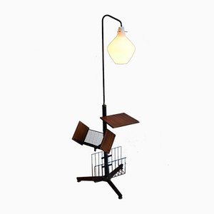 Italian Floor Lamp with Magazine Rack, 1958