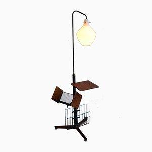 Lámpara de pie italiana con revistero, 1958