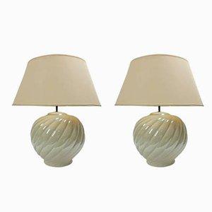 Lampes de Bureau Vintage en Céramique par Tommaso Barbi, 1970s, Set de 2