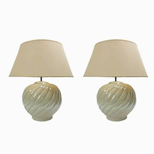 Vintage Ceramic Table Lamps by Tommaso Barbi, 1970s, Set of 2