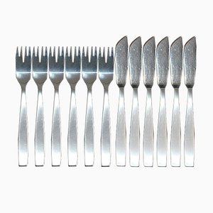 12-Piece Fish Cutlery Set by Helmut Alder for Amboss, 1954