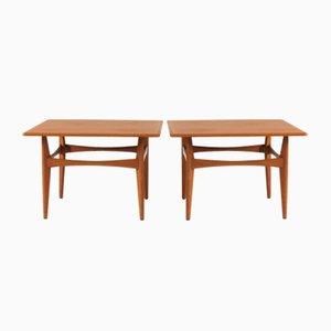 Grandes Tables d'Appoint en Teck par Karl-Erik Ekselius pour JOC Vetlanda, 1950s, Set de 2