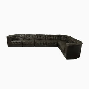 DS11 Black-Brown Leather 7 Elements Modular Sofa from de Sede, 1970s
