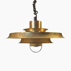 Vintage Danish Rise and Fall Brass Pendant Lamp from Vitrika, 1970s