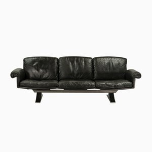 Model DS31 Black Leather Three-Seat Sofa from de Sede, 1960s