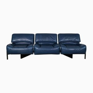Mid-Century Blue Veranda Sofa by Vico Magistretti for Cassina, 1970s