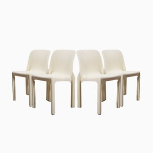 Selene Stackable Chairs by Vico Magistretti for Artemide, 1968, Set of 4
