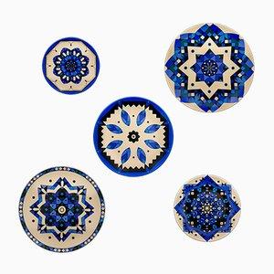 Piatti Kaleido blu in porcellana di Kostas Neofitidis per Kota, set di 5