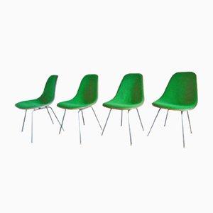 Sillas auxiliares DSX Mid-Century en verde de Charles & Ray Eames para Herman Miller. Juego de 4