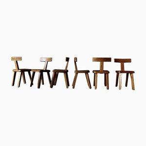 Vintage Elm T Chairs by Olavi Hänninen for Mikko Nupponen, Set of 6