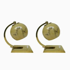 Art Deco Brass Bedside Table Lamps, Set of 2
