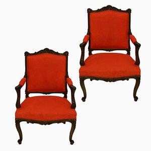 Antike Französische Walnuss Armlehnstühle, 2er Set