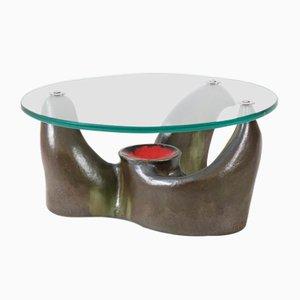 Tavolino da caffè Mid-Century in terracotta e vetro, Francia, anni '70