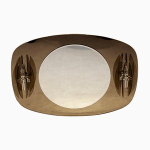 Specchio a due toni con luci di Veca, anni '70