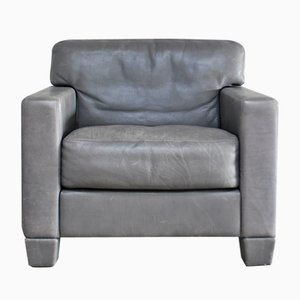 Etonnant Swiss DS 17 Grey Leather Armchair From De Sede, 1980s