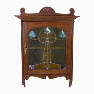French Antique Art Nouveau Walnut Wall Cabinet with Stained Glass Door