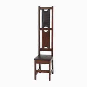 Chaise à Haut Dossier Arts & Crafts en Chêne, 1900s