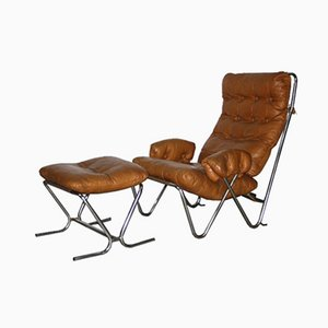 Mid-Century Cognac Leather & Tubular Chrome Lounge Chair with Ottoman