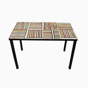 Coffee Table with Pyjama Ceramic Tiles by Roger Capron, 1950s