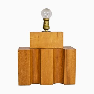Constructivist Lamp in Wood from Maison Regain, 1970s