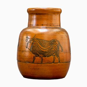 Burnt-Orange Vase with Animal Motifs by Jacques Blin, 1960s