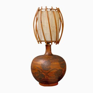 Ceramic Lamp with Rattan Shade by Jacques Blin, 1950s