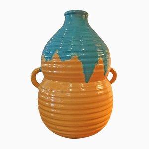 Jarrón francés Art Déco de cerámica de Primavera, años 40