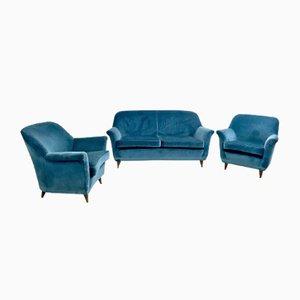 Set da salotto di velluto blu medio, Italia, anni '50