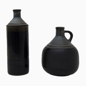 Stoneware Pitcher Vases by Franco Bucci for Laboratorio Pesaro, 1970s, Set of 2