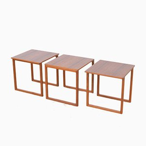 Tables d'Appoint par Kai Kristiansen pour Vildbjerg Møbelfabrik, 1960s, Set de 3