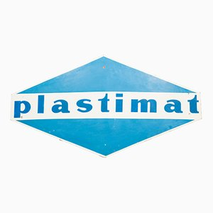 Cartel Plastimat vintage de metal