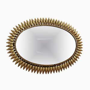 Spanish Gilt Metal Sunburst Mirror, 1950s