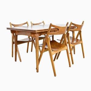 Sedie CH29 e tavolo AT312 di Hans J. Wegner per Andreas Tuck, anni '50