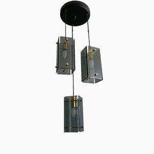 Lámpara colgante italiana con tres luces, años 60