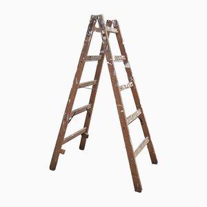 Scala a pioli da pittore pieghevole in legno, anni '60