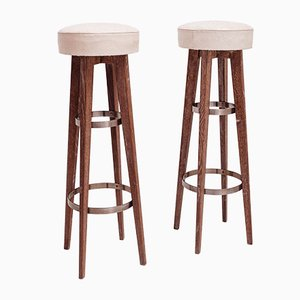 Oak High Bar Stools, 1954, Set of 2