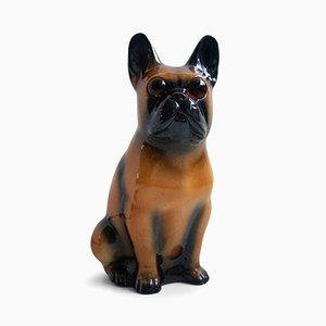 Lámpara con forma de perro de porcelana, años 60