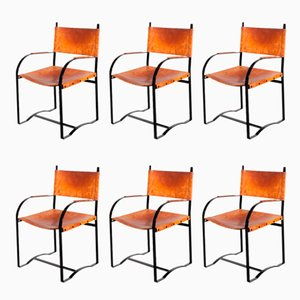 Cognac Leather Armchairs, 1970s, Set of 6