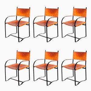 Cognac Leder Armlehnstühle, 1970er, 6er Set
