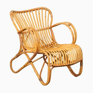RB-2 Rattan Lounge Chair by Dirk van Sliedrecht for Rohe Noordwolde, 1950s