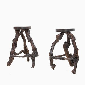 Mid-Century Burl Wood Stools, 1960s, Set of 2