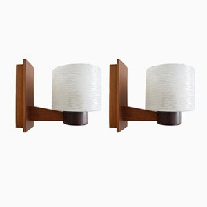 Applique vintage in teak, Danimarca, set di 2