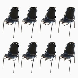 Black Leather Les Arcs Chairs by Charlotte Perriand for Cassina, 1960s, Set of 8