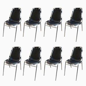 Sedie Les Arcs in pelle nera di Charlotte Perriand per Cassina, anni '60, set di 8