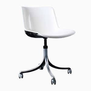 Sedia girevole Modus vintage bianca in alluminio di Osvaldo Borsani per Tecno