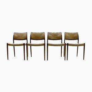 Modell 80 Stühle aus Palisander & Leder von Niels O. Møller, 1960er, 4er Set