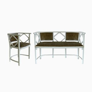 Banco y silla de cabaret vintage de Josef Hoffmann para Thonet