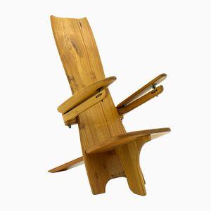 Finnish Sculptural Wooden Side Chair, 1970s